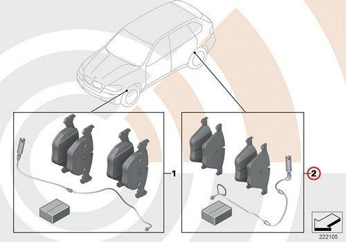 BMW Genuine Rear Brake Pads Wear Sensors Set E53 X5 3.0i X5 4.4i X5 4.6is X5 4.8is