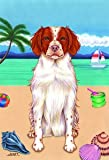 Brittany Spaniel – Tomoyo Pitcher Summer Beach Large Flag