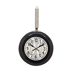Deco 79 98439 Black Iron Wall Clock, 17 x 10, Silver