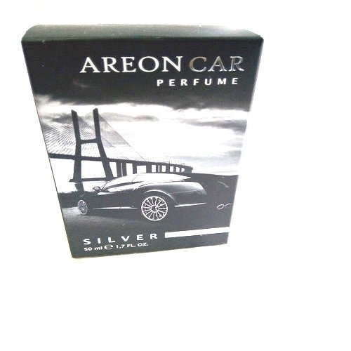 Areon Car Perfume 1.7 Fl Oz. (50ml) Glass Bottle Air Freshener, Silver (Silver Discount Mens Fragrance)