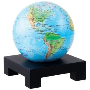 6'' Blue with Relief Map MOVA Globe with Square Base in Black