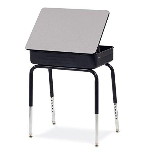Virco Student Lift Lid Desk with Char Black Metal Bookbox, Gray Nebula Laminated Top, Black Frame, 2 Pack (751MBBM-BLK01-GRY91-BLK01) ()