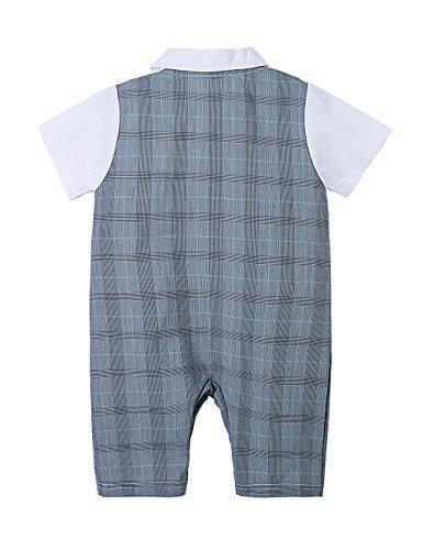 a09eb4912ae23 HeMa Island HMD Baby Boy Gentleman White Shirt Bowtie Tuxedo Onesie Jumpsuit  Overall Romper with Blue