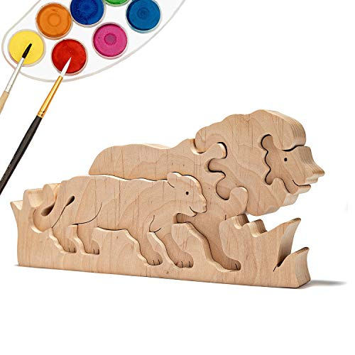 (JNTAR Two Lions Wooden Puzzle for Kids Wooden Educational Shape Puzzle Zoo Blocks Wooden 3D Puzzle Wood Toy for Children Development Jigsaw Puzzle Brain Teaser for Kids, Non-Toxic)