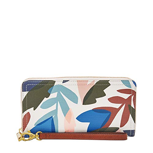 Fossil Women's Logan Floral Leather Zip Around Clutch - Fossil Natural