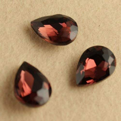 Pear Shaped Crystal - Pukido 12PC/lot 13x18MM Teardrop Point Back Crystal Rhinestone Faceted Glass pear Shape Shaped Bead Multiple Color Shiny - (Color: red Coffee)
