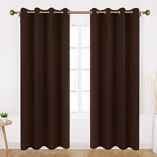 - HOMEIDEAS Blackout Curtains - 2 Panels Chocolate Brown Room Darkening Curtains/Drapes, Thermal Insulated Solid Grommet Window Curtains for Bedroom & Living Room, 52 x 84 Inches