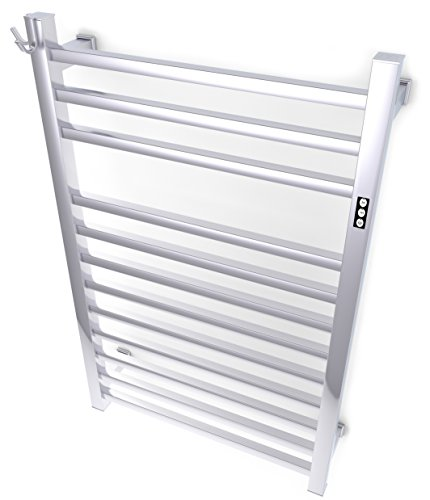 (Brandon Basics Wall Mounted Electric Towel Warmer with Built-in Timer and Hardwired and Plug in Options, Stainless Steel -)
