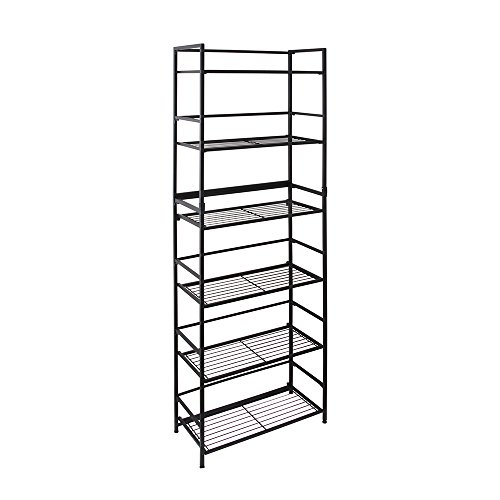 Flipshelf-Folding Metal Bookcase-Small Space Solution-No Assembly-Home, Kitchen, Bathroom And Office Shelving-Black, 6 Shelves, Wide