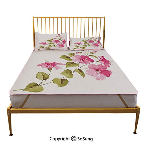 Flower House Decor Creative King Size Summer Cool Mat,Tropic Wild Hibiscus Flower Branch with Fresh Leaves Exotic Flora Concept Sleeping & Play Cool Mat,Pink Green White ()