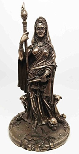 Greek White Goddess Hecate Sculpture Athenian Patroness of Crossroads, Witchcraft, Dogs and Poisonous Plants Statue (Bronze)