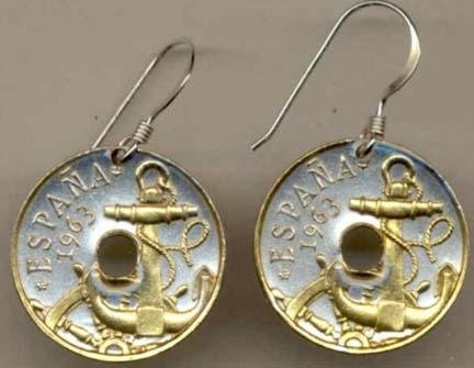 ÒAnchor and Ships WheelÓ Two Tone Coin Earrings ()