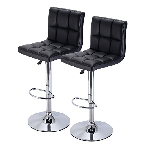 Costway Furniture Swivel PU Leather Barstools Chair Adjustable Hydraulic Counter Bar Stool, Set of 2 (Black) by COSTWAY