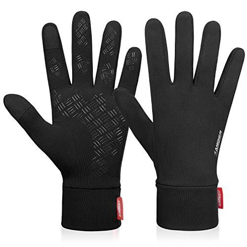 coskefy Handschuhe Winter Laufen Touchscreen Leicht Elastisch Sport Gloves Motorrad Fahrrad Herren Damen Winddicht rutschfest Camping Wandern Outdoor Warm Schwarz Vorwinter Frühling Herbst
