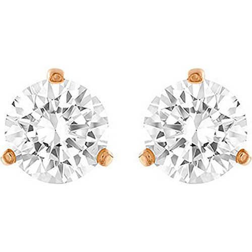 Swarovski Solitaire Crystal and Rose Gold Pierced Earrings