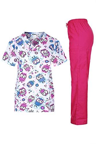 MedPro Women's Solid Stretchy Medical Scrub Set Top and Cargo Pants White Pink M