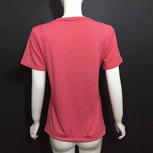 LHWY Moda Mujer Las Letras Impresas De Manga Corta Camisa Blusa Casual Tops T Shirt