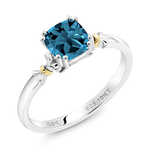 Gem Stone King 925 Silver and 10K Yellow Gold London Blue Topaz Women
