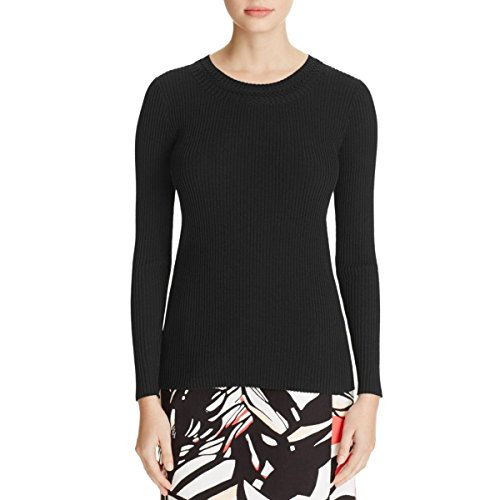 Hugo Boss Womens Franza Ribbed Knit Solid Casual Top Black XS by Hugo Boss