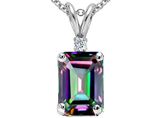- Tommaso Design Emerald Cut Rainbow Mystic Topaz Pendant Necklace 14 kt White Gold