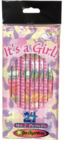 Shower Pencils - DesignWay It's a Girl 24-Pack No. 2 Pencil, Pink