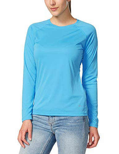 - Baleaf Women's UPF 50+ Sun Protection T-Shirt Long Sleeve Outdoor Performance Sky-Blue Size L