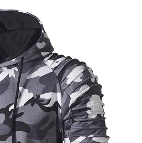 Mens' Long Sleeve Hoodie Sweatshirt Pullover Camouflage Hoodie Sweatshirt Tops Autumn Jacket Outwear (Gray, L) by Hattfart Hooded Sweatshirt (Image #3)
