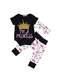 Newborn Baby Girls Princess Crown Print Rompers+Pants+Headband 3Pcs Outfits Set