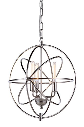 Elegant Lighting Vienna Collection 3-Light Pendant Lamp, Polished Nickel Finish (Pendants Finish Nickel Polished)
