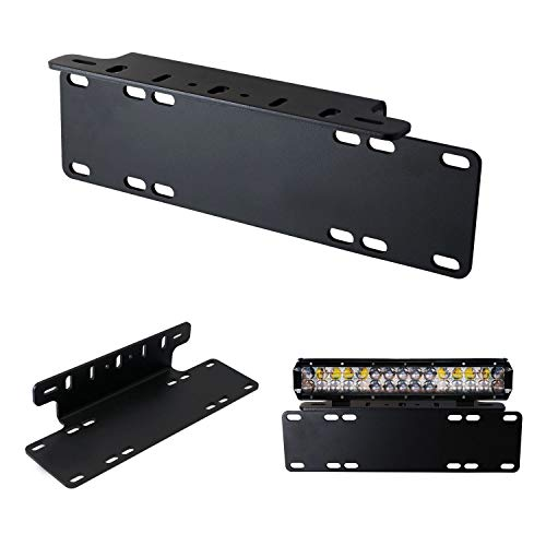 iJDMTOY Heavy Duty Front Bumper License Plate Mount Bracket Holder For LED Light Bar, LED Work Lights, Off-Road LED Lights, etc