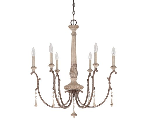Capital Lighting 4096FO Chateau 6-Light Chandelier, French Oak Finish with Accent Fobs