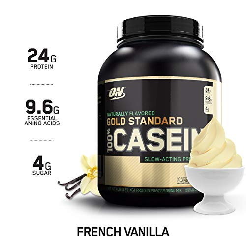 OPTIMUM NUTRITION GOLD STANDARD 100% Micellar Casein Protein Powder, Naturally Flavored French Vanilla, 4 Pound