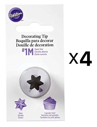 (Wilton Open Star Tip #1M Icing Decorating Nickel Plated Brass Lg Coupler(4-Pack) )