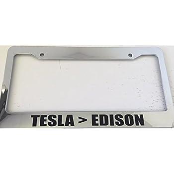 Amazon.com: Tesla > Edition - Chrome Automotive License Plate Frame ...