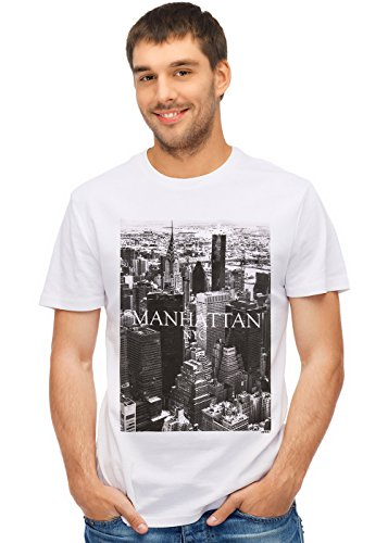 Retreez New York City NYC Manhattan Graphic Printed Unisex Men/Boys/Women T-Shirt Tee - White - -