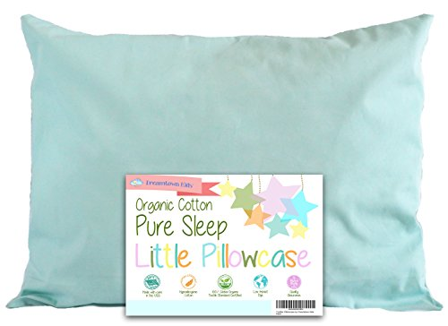 Great Deal! Toddler Pillowcase by Dreamtown Kids 14 X 19 - 100% Organic Cotton Woven - Naturally Hyp...