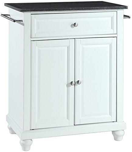 Crosley Furniture Cambridge Cuisine Kitchen Island with Solid Black Granite Top - White