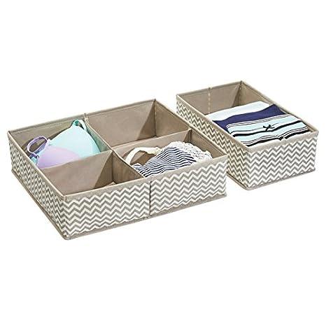 mDesign Cajas almacenaje juego de 2 - 2 Cajas organizadoras en 2 tamaños con 5 compartimentos - Cajas almacenaje ropa en plástico - Color: topo/natural: ...