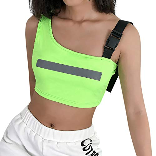 Reflective Vest Running Tank Tops for Women Adjustable Strap Sleeveless Crop Tops Safety Vest Workout Gym Sports Bras Green