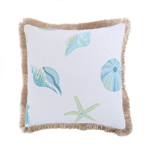Levtex Del Ray Quilted Shell Burlap Fringe Pillow ()