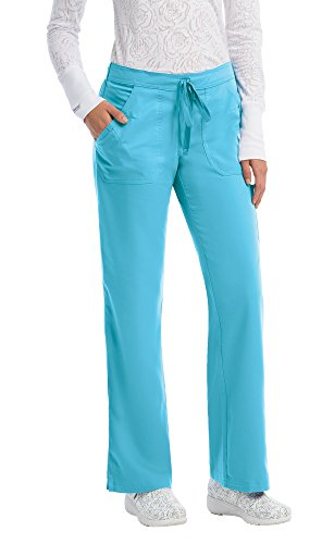 Grey's Anatomy Women's 4245 4 Pocket Drawstring Scrub Pant With Logo Elastic Back- Hunter- Large (Green Drawstring Pants)