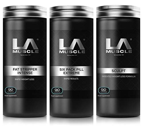 LA Muscle Six Pack Extreme + Sculpt CLA + Fat Stripper Intense Strongest 100% Natural Weight Loss Offer Special Deal…