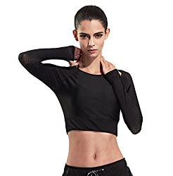 J Pinno Women S Athletic Mesh Long Sleeve Crop Top Shirt Workout Yoga Dry Fitness T Shirt Black L Bust 29 9 37 7
