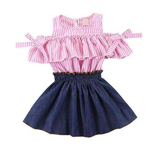 Zukuco Baby Girl Dress Stripe Plaid Ruffle Sleeveless Denim Skirt Bow Princess One-Piece Dress(2-3Y, Pink) (Charming Stripe Collar)