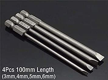 Screwdriver Magnetic: 6pcs Set 50/100mm 2.0-6.0mm Magnetic Flat Head Slotted Tip Screwdrivers Bits 1/4' Driver Bits Hand Tools Screwdriver Drill Bit