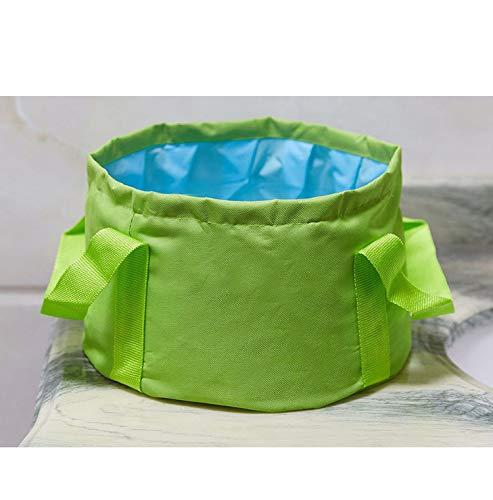 ggaa Portable Wash Basin Cute Travel Outdoor Round Folding Water Washbasin Camping Picnic Oxford Wash Bucket Bag Ultralight,15L Green