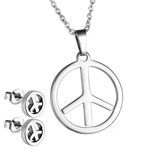 HooAMI Womens Stainless Steel Peace Sign Pendant Necklace And Stud Earring Jewelry Set (Peace Pendant Necklace)