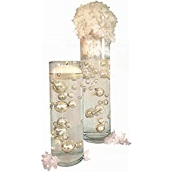 NO Hole Ivory Pearls - Jumbo & Assorted Sizes Vase Fillers for Centerpiece Decorations - to Float Pearls Order The Transparent Water Gels