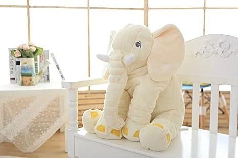 sdtdia Lindo Elefante Juguetes Blandos Animales Almohada rellena Elefante Gris Felpa bebé Almohada Pals cojín de Peluche de Juguete para niños (Beige, ...