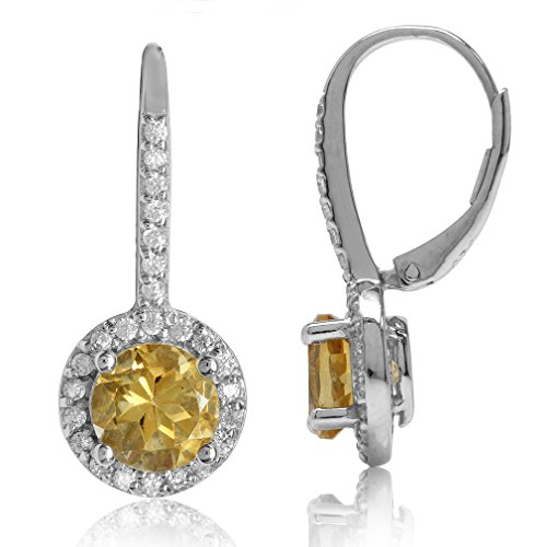 Round Shape 925 Sterling Silver Halo Leverback Earrings (Citrine) ()